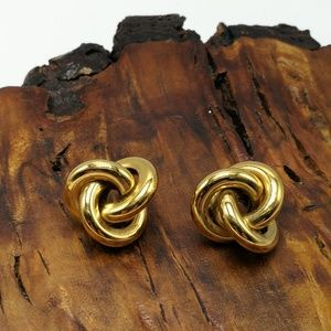 Vintage gold stud 90s weave eternity knot sail